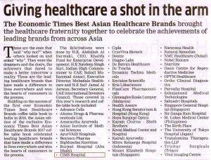 The Economic Times Best Asian Healthcare Brands - Novem